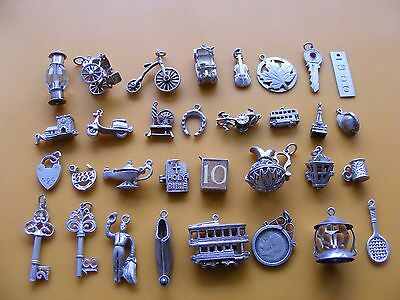I Vintage Sterling Silver Charm Bike Violin Key Bus Bible 21 18 Car Maple Jug  • 3.99£