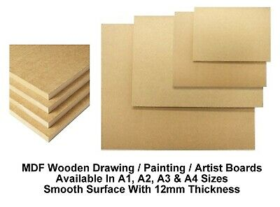 A4 A3 A2 A1 MDF Wooden Board Drawing Board Painting Artist Art (12mm Thick) • 28.99£