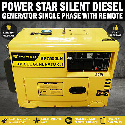 AU13800 • Buy NEW Power Star 8Kva/6Kva Rated Diesel Silent Generator Single Phase, W Remote