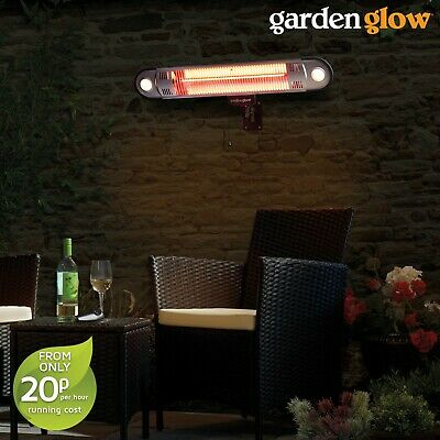 Garden Glow 1.5KW Halogen Patio Heater Wall Mounted Outdoor Fire & LED Light NEW • 59.99£