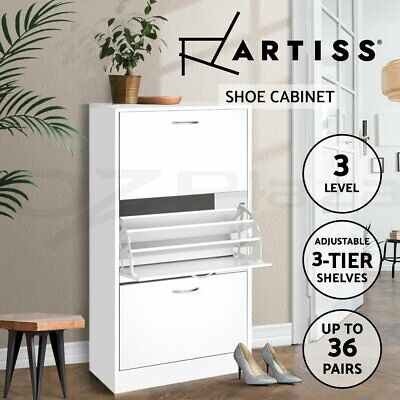 AU112.90 • Buy Artiss Shoe Cabinet Shoes Storage Rack Organiser 36 Pairs White Shelf Cupboard