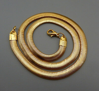 £7.22 • Buy 1Pc Men Womens Gold Tone 6mm Wide Flat Snake Chain Necklace 17 Inches