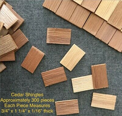 $16.25 • Buy Doll House CEDAR SHAKE SHINGLES 300 Pc/ Raw Material Wood Roofing /Craft Project