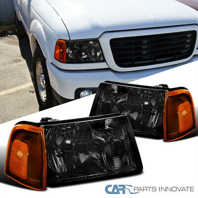 $70.25 • Buy 01-11 Ford Ranger Pickup Truck Smoke Headlights+Amber Lens Corner Lamps Pair
