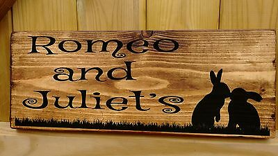 £19.98 • Buy RABBIT NAME Sign Plaque Hutch Run Cage Door Personalised SINGLE Or DOUBLE