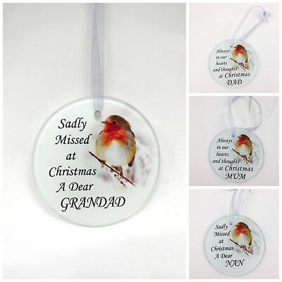Robin Glass Christmas Tree Hanging Plaque/Decoration Memorial Xmas Bauble • 3.90£