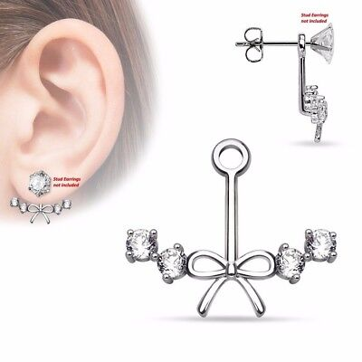 $7.69 • Buy One Piece Ribbon Center W 4 CZs Womens Add On Earring Cartilage Barbell Jacket