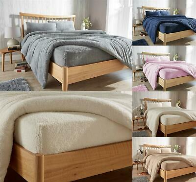 Teddy Fleece Extra Deep Fitted Sheet Cosy Warm Bed Sheets Single Double King • 11.95£