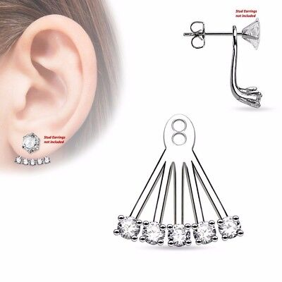 $9.89 • Buy One Piece 5 CZ Prong Set Fan Women Girls Add On Earring Cartilage Barbell Jacket
