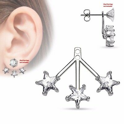 $9.89 • Buy One Piece 3 Star CZs Fan Add On Womens Girls Earring Cartilage Barbell Jacket