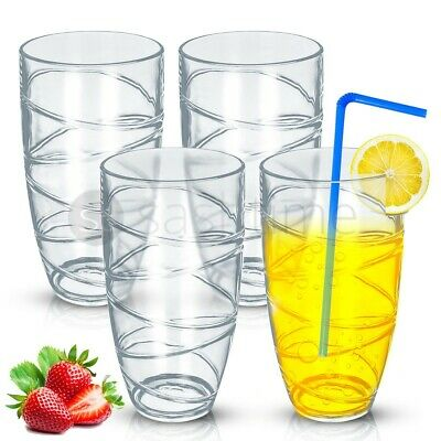 4 X Deluxe Swirl Plastic Acrylic Tumblers Glasses Hi Ball Glass Party Picnic BBQ • 8.95£