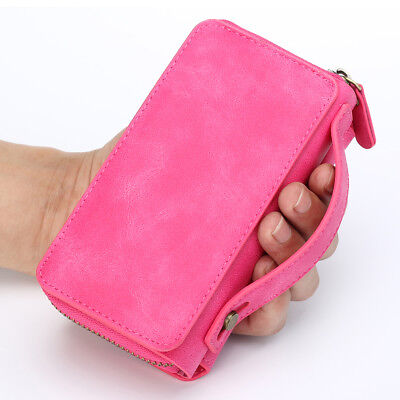 AU26.79 • Buy Leather Zipper Handbag With Card Holder Wallet Case For IPhone 12 11 XS 8 Plus 7