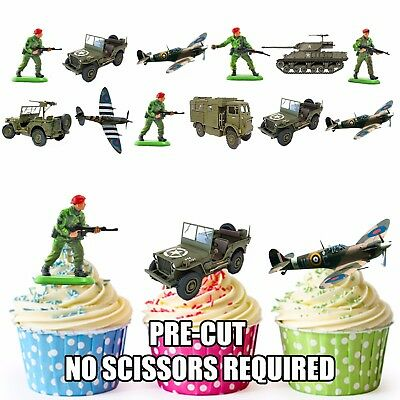 £3.49 • Buy PRE-CUT Military / Army Vehicles Soldiers - Edible Cupcake Toppers Decorations