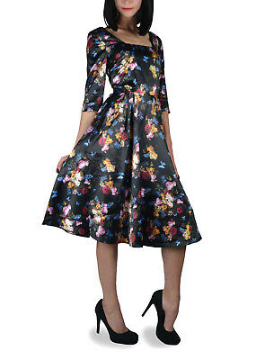 44dadc1d0b Voodoo Vixen Floral Print Satin Emo Pin Up Rockabilly Sexy Flare Dress  Dra2422 • 22.74