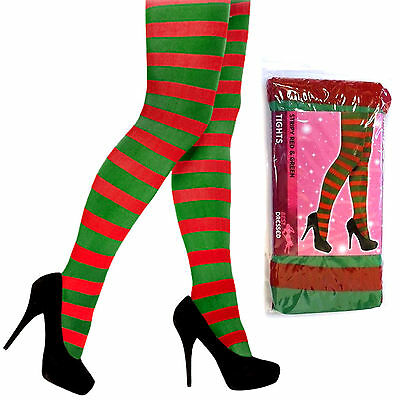 £3.75 • Buy Adult Red & Green Striped Elf Tights Christmas Fancy Dress Womens Mens Costume