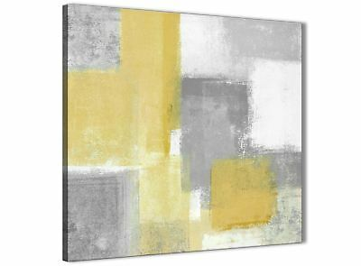 Mustard Yellow Grey Bathroom Canvas Accessories - Abstract 1s367s - 49cm • 24.99£