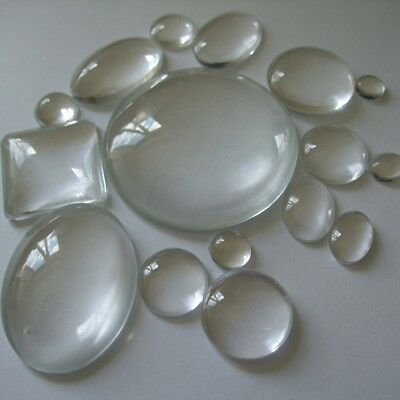 New Quality Cabochon Clear Domed Glass Round Square & Oval All Sizes Flat Backed • 2.39£