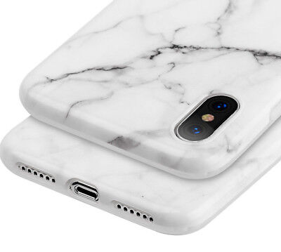 AU11.54 • Buy For IPhone X / XS - Hard TPU Gummy Rubber Skin Case Cover White Marble Pattern