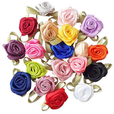 20pcs Ribbon Flower Rose Bud Decoration Embellishments, Sewing Card Scrapbooking • 1.99£