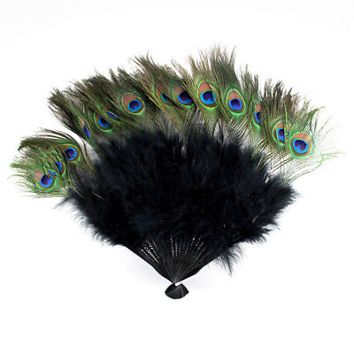 £10.06 • Buy Vintage Peacock Black Feather Holding Hand Fan~Halloween Party USA Seller