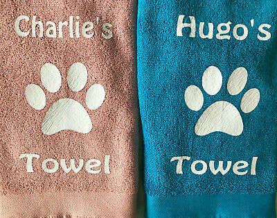 PERSONALISED DOG TOWEL Grooming/Bedding/Bath/washing PAWS Blue/Pink/ PUPPY GIFT • 9£