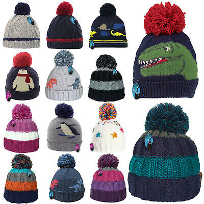 £6.99 • Buy Kids Winter Hat Thick Knitted Warm Wooly Pom Bobble Ski Striped Boys Girls Child