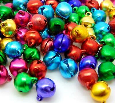 100 SMALL RINGING JINGLE BELLS CHARMS 8mm X 6mm XMAS MIXED COLOURS TOP QUALITY • 2.29£