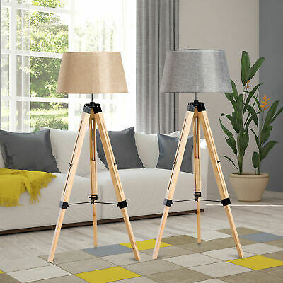 Classic Floor Lamp Light Wooden Tripod With Adjustable Height And Foot Switch • 54.99£