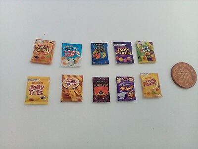 1/12 Scale Assorted Sweet Packs Set Of 10 For Dollhouse * • 1.50£
