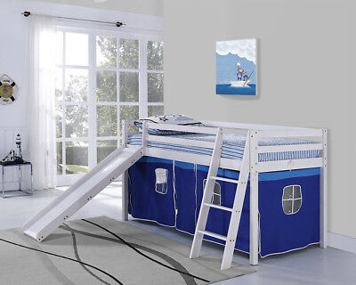 Kids Bunk Bed Mid Sleeper With Slide And Ladder Wooden Cabin Bed Tent • 209.99£