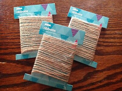 £1.99 • Buy 6 Packs Of 3 Metre Lengths Natural Brown Shabby Style Rustic Twine String