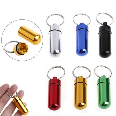 $0.75 • Buy Aluminum Mini Medicine Pill Box Case Bottle Holder Container Keychain Waterproof