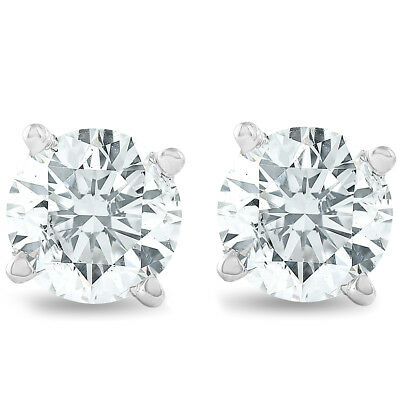 View Details 1 1/4ct 14K White Round Cut Studs Earrings Screw Back • 469.99$