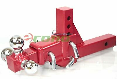 3 Way Tri Ball Adjustable  2   Receiver Raise Drop Verticle Triple Tow Hitch RED • 87.95$