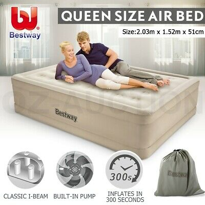 AU119.95 • Buy Bestway Air Bed Inflatable Luxury Queen Blow Up Mattress Built-in Pump Camping