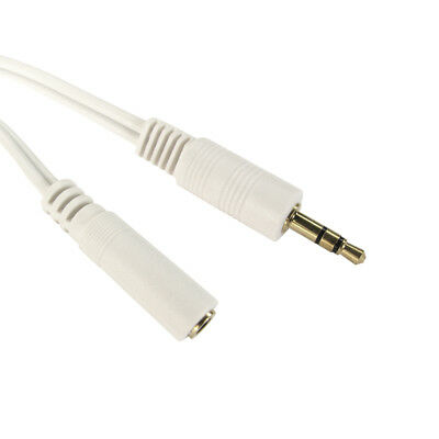 2m 3.5mm Jack Plug To Socket AUX Headphone Extension Cable Lead GOLD WHITE • 1.89£