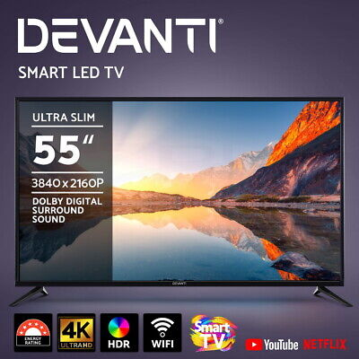 AU539.95 • Buy Devanti LED Smart TV 55  Inch 4K UHD HDR LCD TV Slim Thin Screen Netflix YouTube