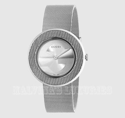 309236962d8  690 New Womens Gucci Watch Ya129407 U-play Stainless Steel Mesh  Interlocking Gg • 495.00