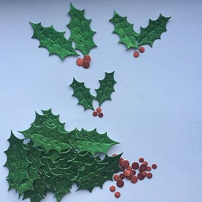 Christmas Holly Leaf Die Cuts - Sets Of 30 In Assorted Styles • 1.99£