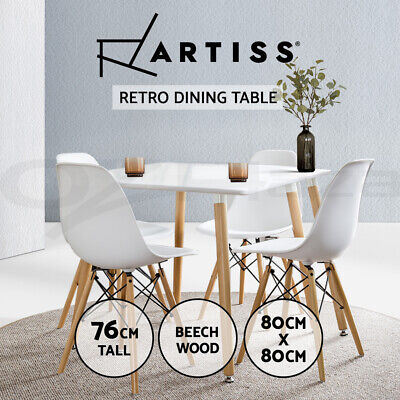 AU159.90 • Buy Artiss Dining Table 4 Seater Square Replica Eames DSW Cafe Kitchen White 80cm