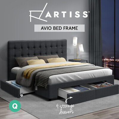 AU359.95 • Buy Artiss Bed Frame Queen Size Base Mattress With Storage Drawer Fabric