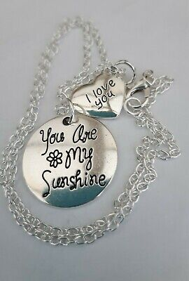 You Are My Sunshine  &  I Love You  Charms 16  Or 18  Silver Chain Necklace • 2.25£