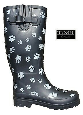 Ladies Wellingtons Dog Paw Black Tall Full Wellies Womens Winter Boots TOSH  • 22.95£