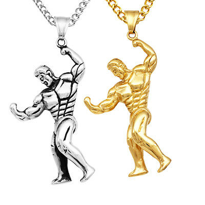 $8.16 • Buy Muscle Man Bodybuilder Dumbbell Pendant Necklace Sports Fitness GYM Jewelry