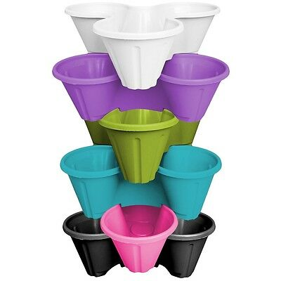 6 X Strawberry Planter Trio Pot Stacking Herb Flower Bed Garden Mixed Colour • 19.99£