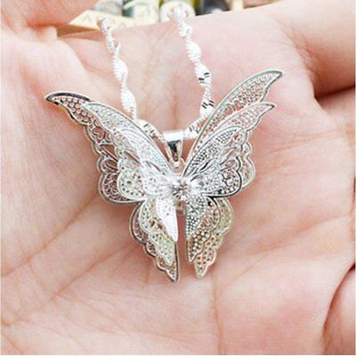 $0.76 • Buy Lovely Luxury Women Lady Silver Plated Hollow Butterfly Necklace Pendant Jewelry