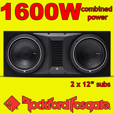 Rockford Fosgate Double 12  PUNCH 1600w Car Audio Subwoofer Sub Woofer Bass Box • 369.99£