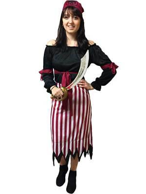 Adult Pirate Lady Womens Fancy Dress Costume Ladies Caribbean High Seas Wench • 9.39£