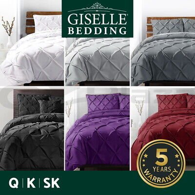 AU26.90 • Buy Giselle Quilt Cover Set Doona Duvet Sets Queen King Bed Hotel Pinch Diamond