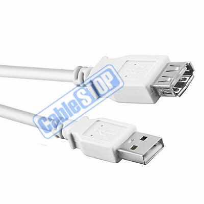 AU4.26 • Buy SHORT 60cm WHITE USB EXTENSION Male To Female PC Laptop Printer Cable 0.6m
